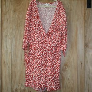 Red Floral Print Romper with Tie Sleeve detial